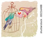 love card with two pretty birds ...