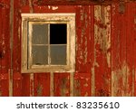 Barn Window On Bright Red...