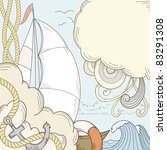 Retro hand draw styled sea and sailor theme with clouds and sailor boat. Vector illustration. - stock vector