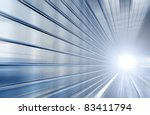 Speed motion blue tunnel moving fast concept - stock photo