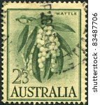 Small photo of AUSTRALIA-CIRCA 1959: A stamp printed in Australia, shows Wattle (Acacia melanoxylon), circa 1959