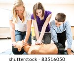 students practicing cpr life... | Shutterstock . vector #83516050