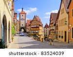 Classic view of Rothenburg ob der Tauber, Germany - stock photo