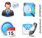 business icons - live chart, address book, contact us, appointment - stock vector