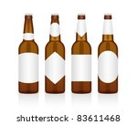 realistic glass beer bottle with different labels