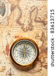 old compass on ancient map. a... | Shutterstock . vector #83613715