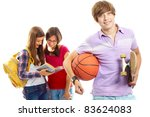 happy guy with ball and... | Shutterstock . vector #83624083