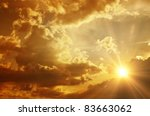 Stock photo sunset sunrise with clouds light rays and other atmospheric effect 83663062