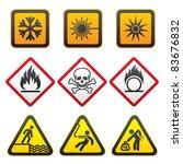 warning symbols   hazard signs... | Shutterstock . vector #83676832