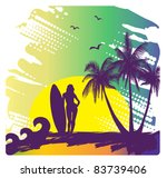 girl with surf | Shutterstock .eps vector #83739406