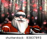Big DJ SC is in Da House and mixing up some Christmas cheer.  Turntables with vinyl albums. And disco lights in the background. - stock photo