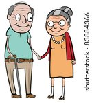 Old Couple Walking Cartoon