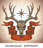 vector engraved deer skull with ...