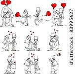 set of wedding pictures | Shutterstock .eps vector #83995627