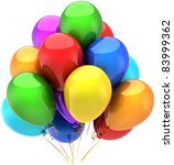 Party balloons happy birthday holiday celebrate decoration multicolor. Anniversary retirement graduation sale occasion greeting card concept. Detailed 3d render. Isolated on white background - stock photo