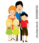 happy suburban family  cartoon | Shutterstock .eps vector #84008056