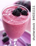 closeup of blackberry smoothie - stock photo