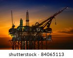 oil rig at late evening | Shutterstock . vector #84065113