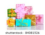 beautiful bright gifts and... | Shutterstock . vector #84081526
