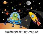 llegada,astronauta,aviador,fondo,dibujos animados,infancia,color,comic,póngase en contacto con,cosmonauta,cosmos,lindo,sueño,elemento,extraterrestre