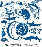 fish collection | Shutterstock .eps vector #84196189