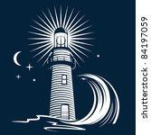 beacon,blue,crescent,dark,evening,icon,light,lighthouse,moon,night,ocean,sea,security,stars,symbol