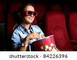 one young girl watching movie... | Shutterstock . vector #84226396