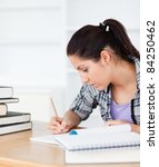 a young student is writing in... | Shutterstock . vector #84250462