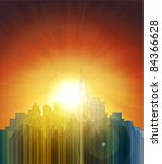 sunset over the big city.... | Shutterstock .eps vector #84366628