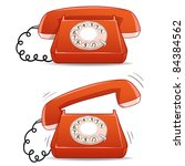 Calm and ringing old-fashioned cartoon phone. Vector illustration. - stock vector