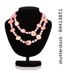 pink pearl necklace and shell... | Shutterstock . vector #84413851