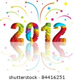 new year 2012 in colorful background design. Vector illustration - stock vector