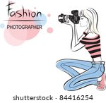 beauty fashion photographer girl. style vector illustration - stock vector