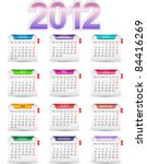 Set of twelve monthly calendars for 2012 - stock vector
