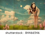 art collage with beautiful young woman, vintage pattern - stock photo