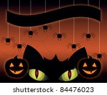 a cute black cat on a halloween ... | Shutterstock . vector #84476023