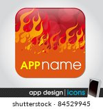 fire theme   blank app icon for ...   Shutterstock .eps vector #84529945