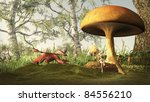 Red dragon creeping up on a pretty blonde fairy sitting under a toadstool in a fairytale forest, 3d digitally rendered illustration - stock photo