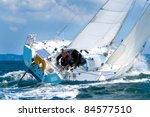 Skipper Sailing On  Yacht At...