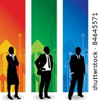 business people arrow background - stock vector