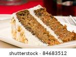 Close Up Of Walnut Carrot Cake...