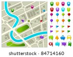 illustration of road map with... | Shutterstock .eps vector #84714160