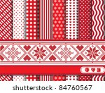Christmas digital scrapbooking paper swatches in red and white with Scandanavian style ribbon. Also available in vector format.