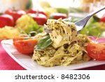 spaghetti with pesto sauce and... | Shutterstock . vector #8482306