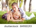 woman and man date in park | Shutterstock . vector #84900193
