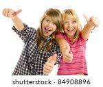 portrait of happy teen girls... | Shutterstock . vector #84908896