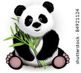 illustration curious panda on stem of the bamboo - stock vector
