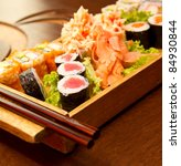 different kinds of sushi on a... | Shutterstock . vector #84930844