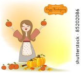 autumn girl with apples and... | Shutterstock .eps vector #85202086
