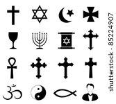 religious symbols on white...   Shutterstock .eps vector #85224907